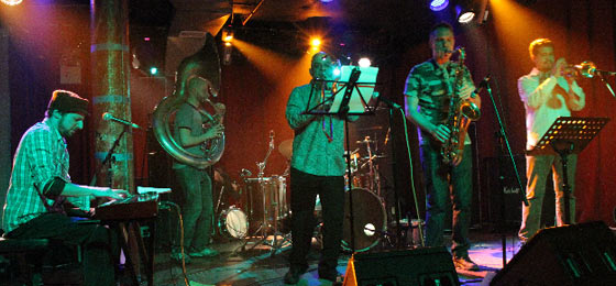 Outer Borough Brass Band at Sullivan Hall 3-29-11 (photo by James Demaria)